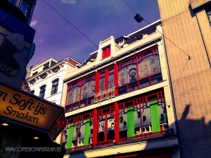 amsterdam red light district next to coffeeshop greenhouse