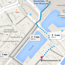 from centraal station to Hunter's coffeeshop