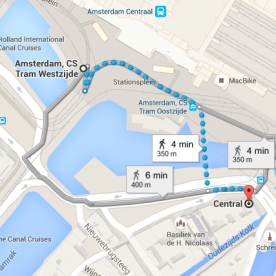 from centraal station Amsterdam to coffeeshop Central