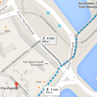from centraal station Amsterdam to coffeeshop Prix d'Ami