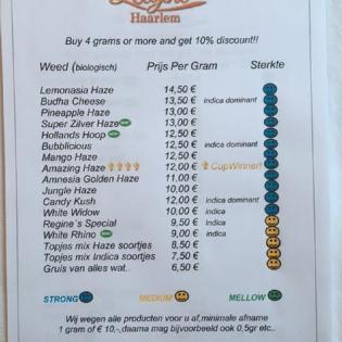 Menukaart Coffeeshop Regine Haarlem Weed 2016 april