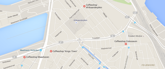 coffeeshops rotterdam map 2