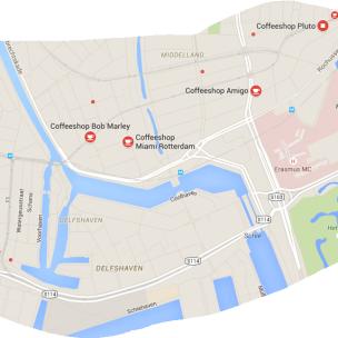 coffeeshops rotterdam map 4