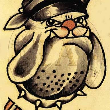 Bulldog with dress hat, artist unknown, 1940s