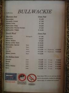 Bullwackie menu coffeeshop may 2015