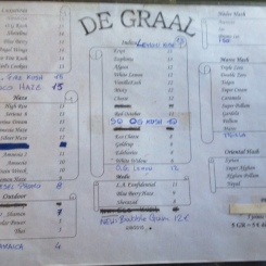 amsterdam menu coffeeshop De Graal MARCH 2015