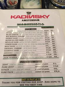 menu coffeeshop Kadinski Weed july 2015
