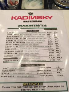 menu coffeeshop Kadinski Weed july 2015