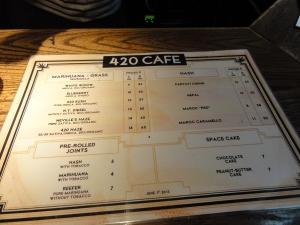 MENU COFFEESHOP 420 CAFE EX DUTCH FLOWERS