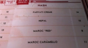 HASCHICH HASHISH HASJ MENU Coffeeshop De Kuil 420 Cafe 2015 may