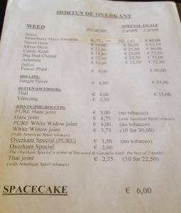 menu coffeeshop de Overkant Hortus 2015 august
