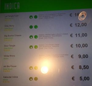 menu for Boerejongens dated April 19, 2015