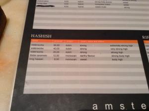 menu hashish coffeeshop de tweede kamer august 2015