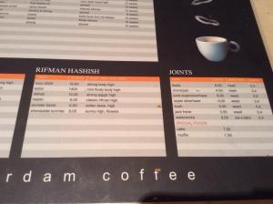 menu riffman haschish coffeeshop de tweede kamer august 2015