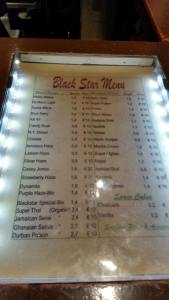New menu for Blackstar dated April 19, 2015
