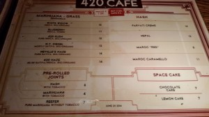 New menu for de Kuil ( 420 Cafe ) dated April 20, 2015.