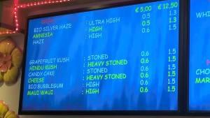 menu weed coffeeshop Pleasure 2016 january