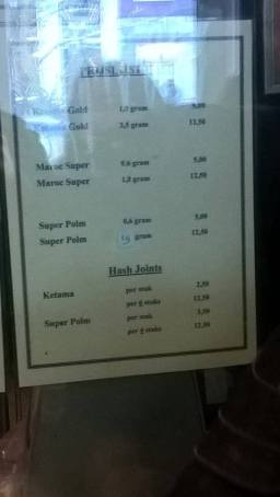 utrecht menu coffeeshop 208 Hash 2016 february
