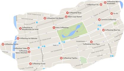 amsterdam de pijp map coffeeshops 2016