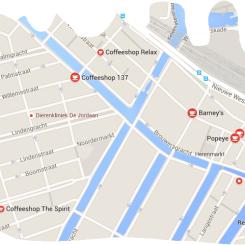 map coffeeshop barney's amsterdam