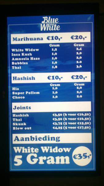 menu coffeeshop Blue and White Den Haag 2015 september