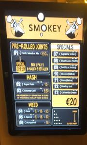 Menukaart Coffeeshop Smokey Den Haag
