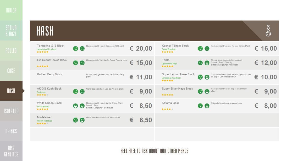 Online Menus Coffeeshops Amsterdam 2015 2016