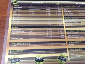 menu coffeeshop de pijp Club Media Weed 2016 may
