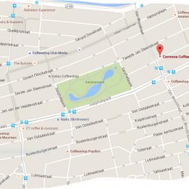map coffeeshop carmona in de pijp amsterdam tram 3 or 4