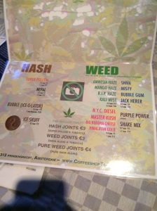 menu coffeeshop hash weed LaTertulia 2016 july