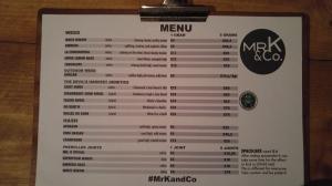 menu coffeeshop MrK & Co 2016 february