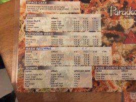 menu coffeeshop Paradox 1e Bloemdwarsstraat 2 2016 january