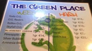 menu coffeeshop The Green Place 2016 january Kloveniersburgwal 4