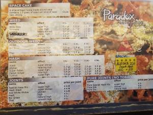 menu carte coffeeshop paradox 2016 september