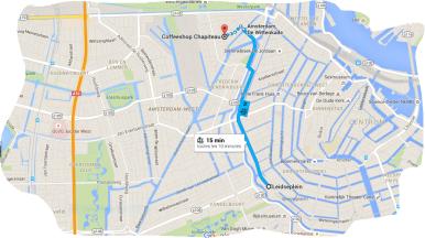 tram 10 from leidseplein to coffeeshop chapiteau amsterdam