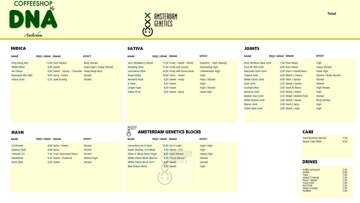 Amsterdam Coffeeshop Menu 2018
