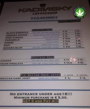 Kadinsky Coffeeshop Langebrugsteeg HASH 2018 OCTOBER