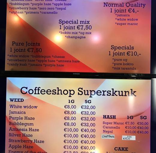 Coffeeshop Menu 2019 Amsterdam Smoke & Sleep