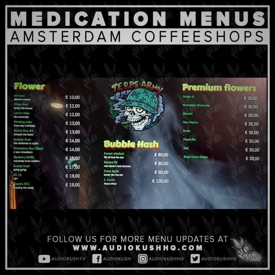 Menu Amsterdam coffee shop2021
